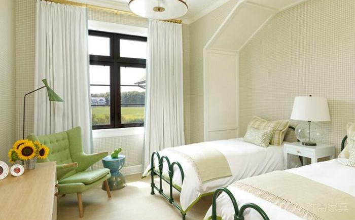 现代田园风格卧室装修案例