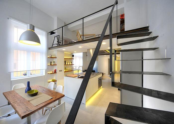罗马的一座复式公寓装修