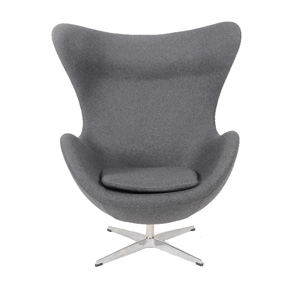 灰色羊毛绒布蛋椅(Egg Chair Cashmere Grey)