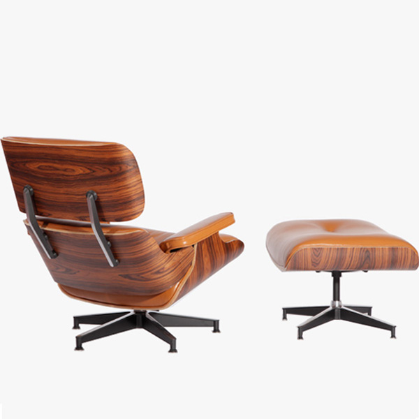橙色伊姆斯休闲椅(Walnut Eames Lounge Chair In Orange Leather)